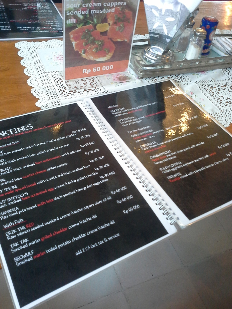The menu. They name their menus is funny and interesting name. Make people curious and want to try :) :)